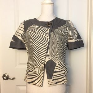 Anthropologie Taikonku Gray Motif Mod Retro Jacket